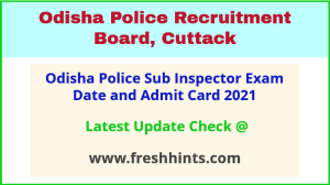 OP Sub Inspector Exam Admit Card 2021