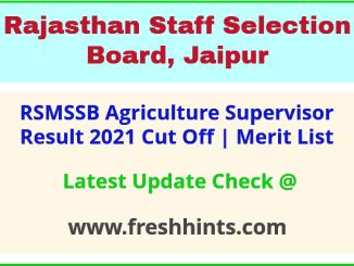 Rajasthan AG Supervisor Selection List 2021