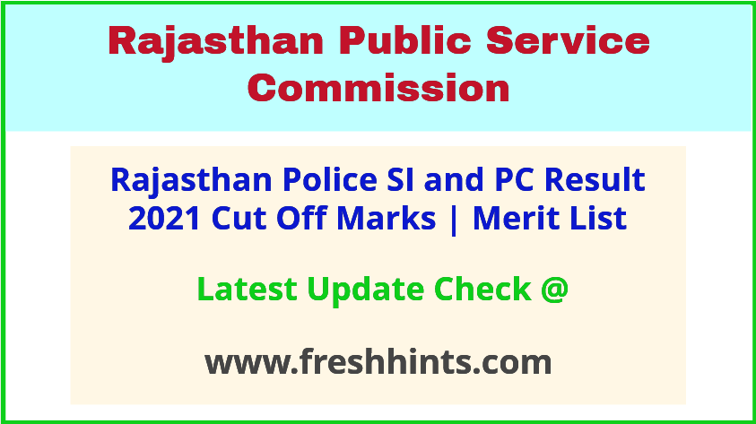 Rajasthan Police Sub Inspector Selection List 2021