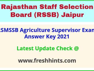 RSSB Rajasthan Krishi Paryavekshak Exam Answer Key 2021