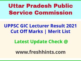 UP GIC Pravakta Selection List 2021