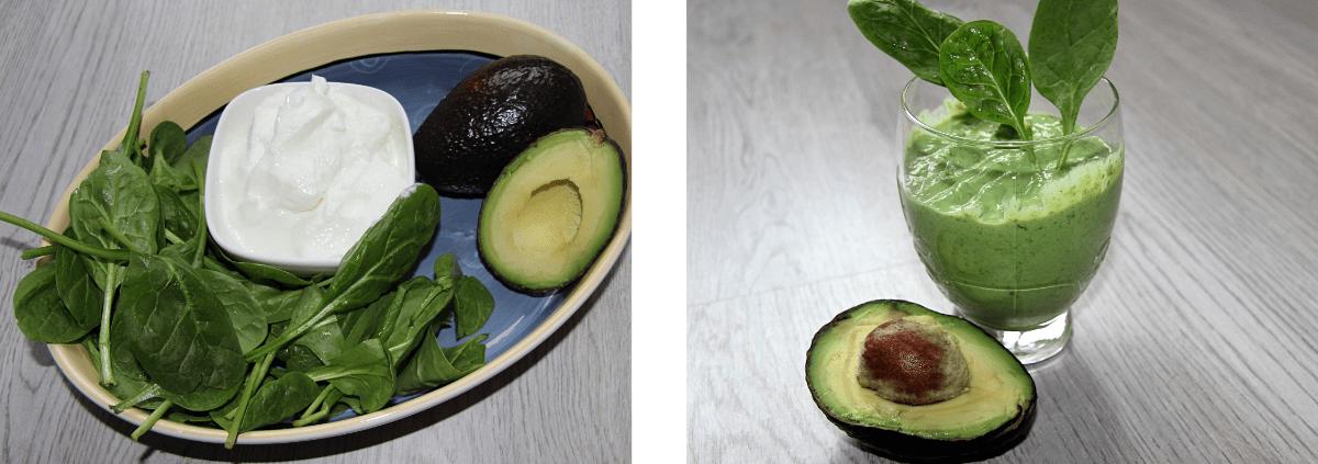Groene kwarksmoothie met avocado en spinazie