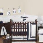 white and navy crib bedding