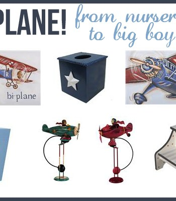 Airplane artwork and accessories for a nursery and big boy room