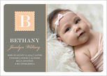 Love the color scheme and scalloped design of this pretty girl birth announcement.
