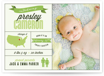 Tell your baby's story with this pretty design with room for lots of details.
