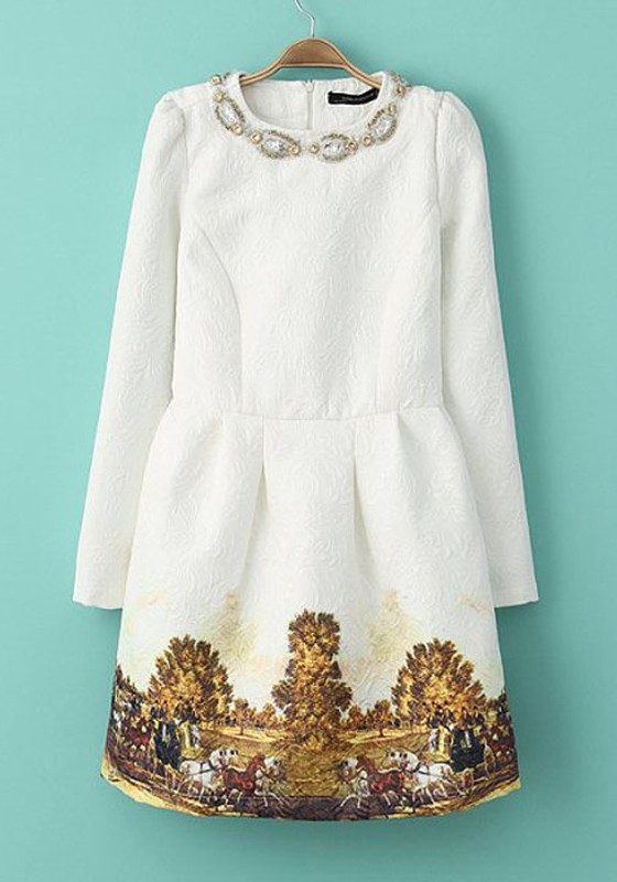 white-print-embroidery-above-knee-polyester-mini-dress
