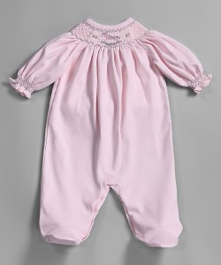 smocked pink footie