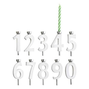 silver number candle holders