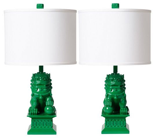Green foo dog lamps