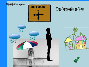Picture showing Disappointment,has person  sitting with umbrella with clouds raining down; Detours, has sign with arrows pointing all 4 directions and a man thinking which way to go;  Determination, city and a bundle of cash