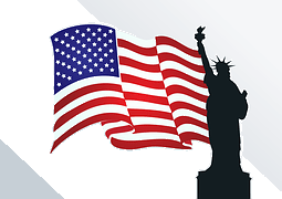 flag with lady liberty symbols of freedom