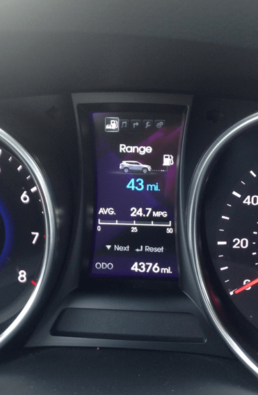 gas mileage on the santa fe 2014