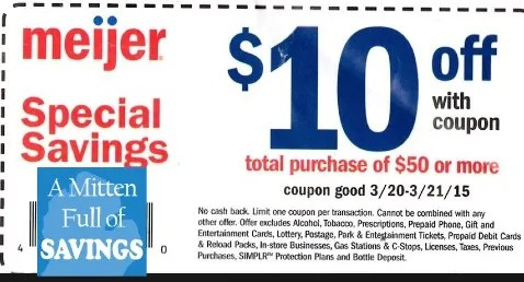 $10 off coupon to use at meijer