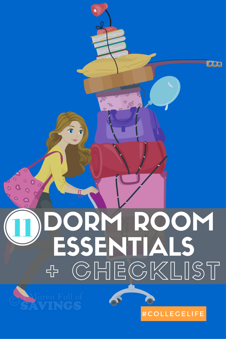 Headed off to college, or a parent of a first-time college student? Be sure to check out this dorm room checklist of essentials needed for college dorm life!