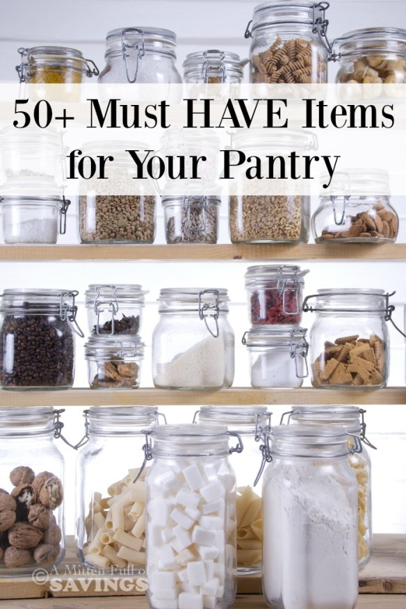 Be sure your Pantry is stocked with these must-have items: 50+ Things Every Well Stocked Pantry Should Have