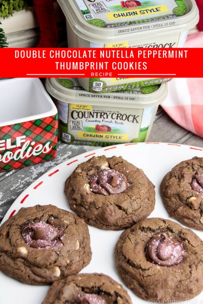 Learn how to make this easy Christmas cookie recipe, Double Chocolate Nutella & Peppermint Thumbprint Cookie