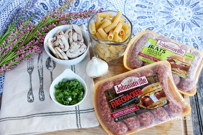 Rigatoni Pasta + Grilled Bratwurst