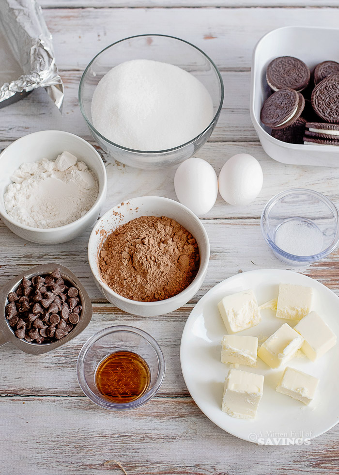 Ingredients for Stuffed Oreo Brownie recipe using a homemade brownie batter and added chocolate chips for a decadent chocolate treat everyone loves.