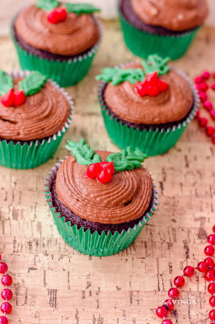 Semi-Homemade Holly Christmas Cupcakes