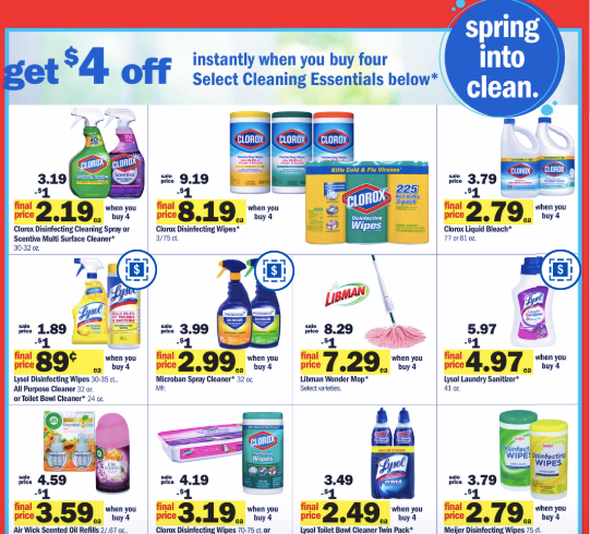 Meijer: Buy 4 Save 4 Lysol/Cleaning Promotion