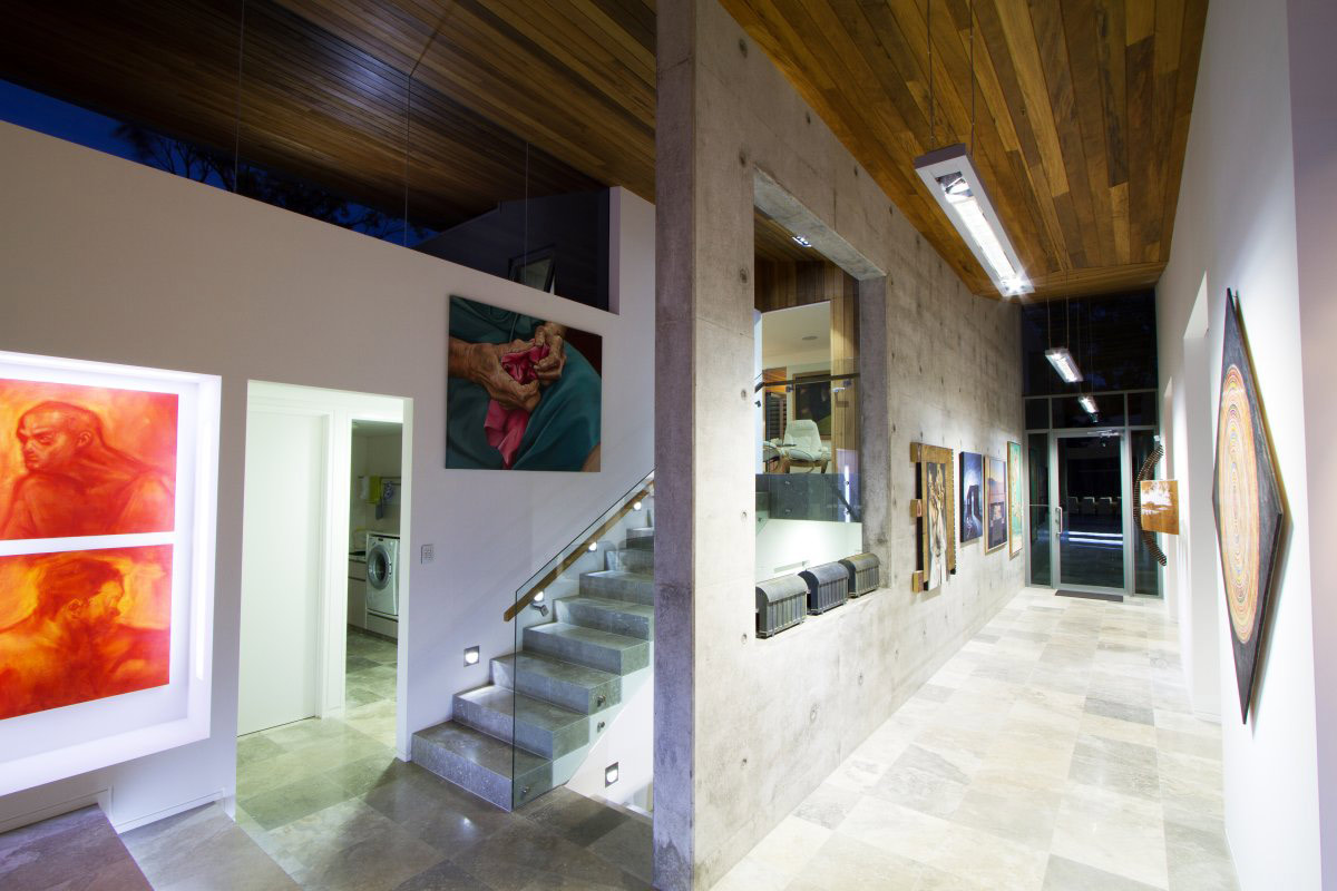 Stairs, Exposed Concrete Walls, The 24 House in Dunsborough, Australia