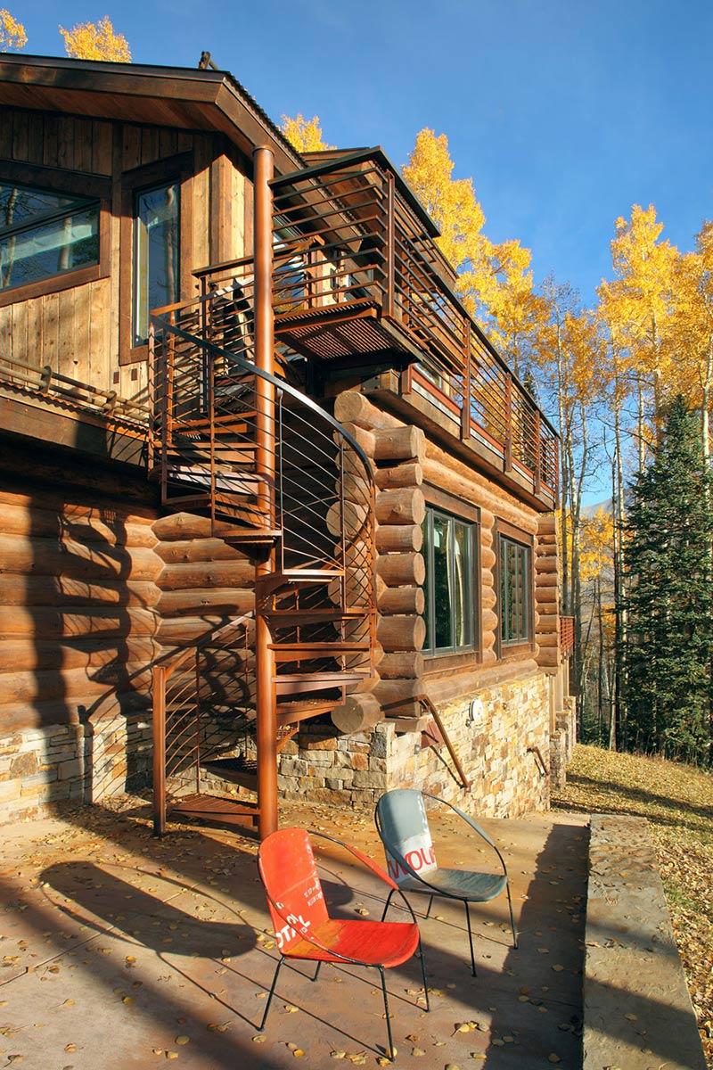 Outdoor Spiral Stairs Modern Log Cabin In Telluride