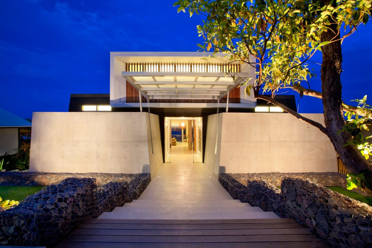 Entrance, Exposed Concrete, Coolum Bays Beach House in Queensland, Australia