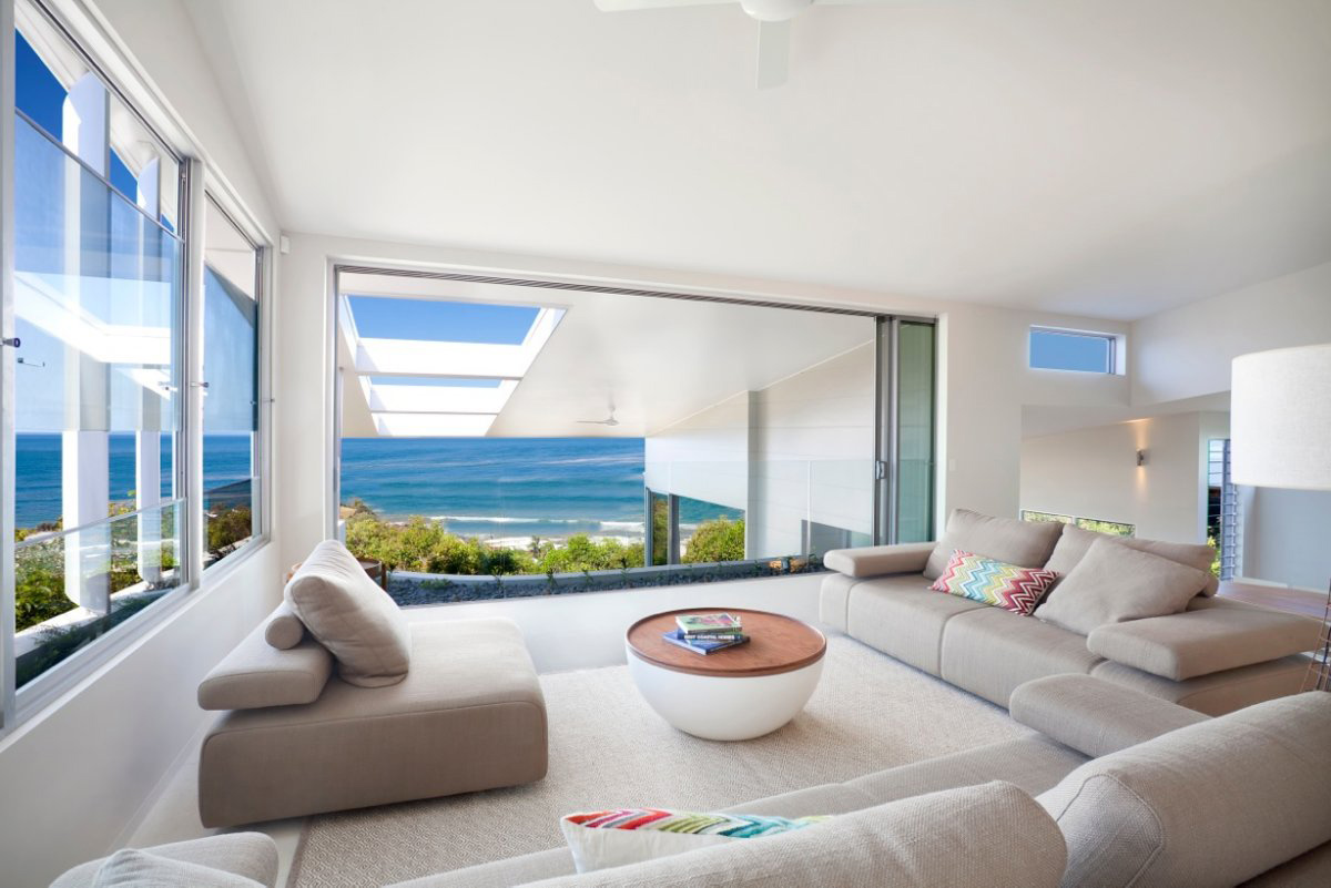 Sofas, Living Space, Coolum Bays Beach House in Queensland, Australia