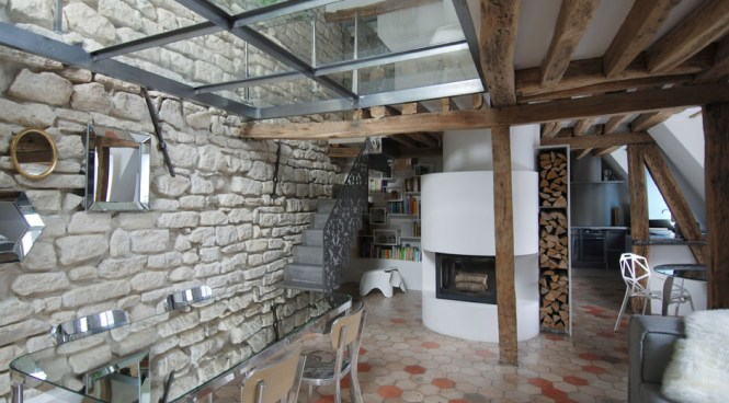 Modern Fireplace Wood Stylish Two Floor Apartment In Paris France