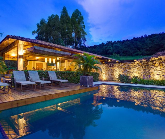 Outdoor Pool Deck Stone Wall Charming Rustic House In