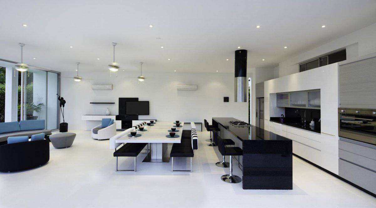 Black Amp White Kitchen Dining Table Living Space Modern