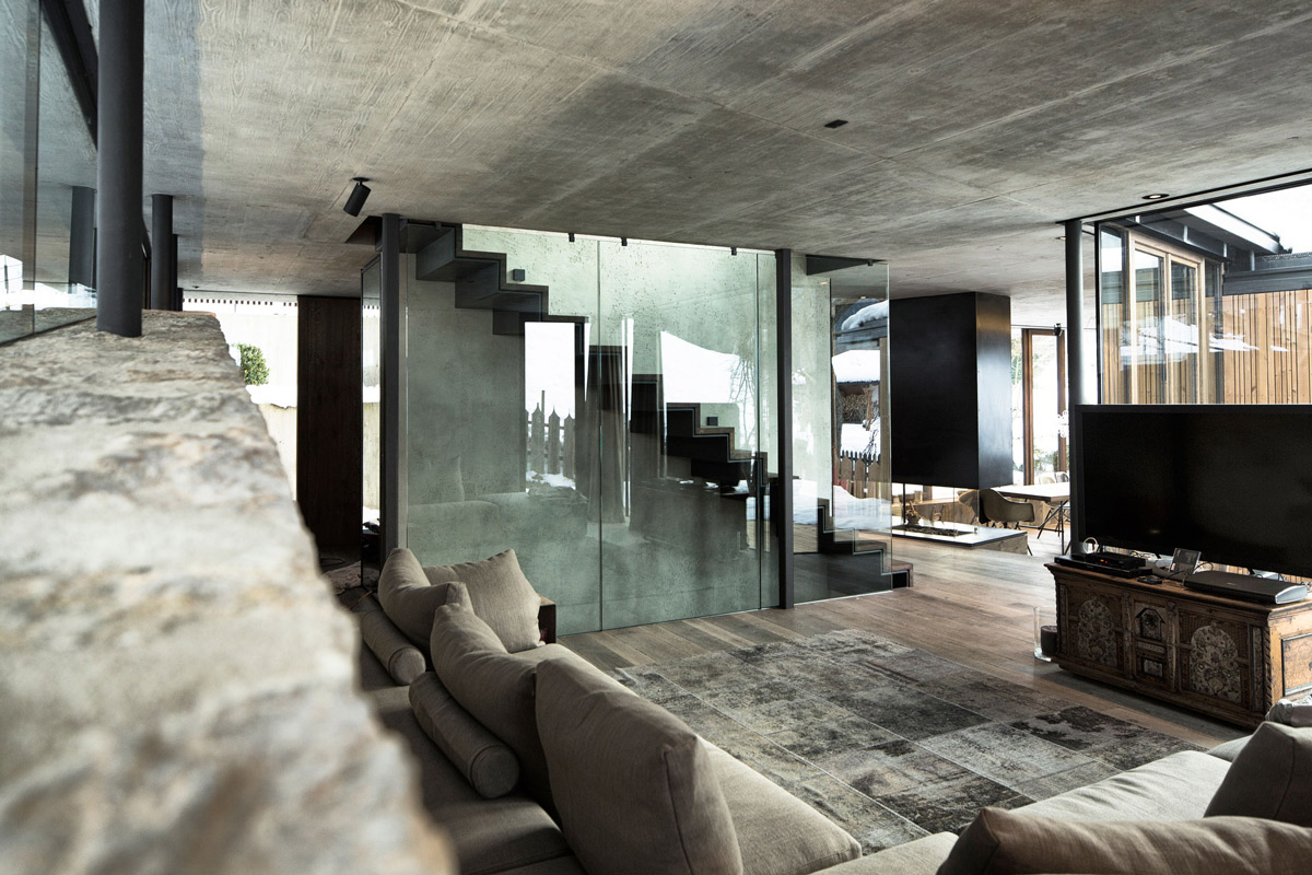 Living Room Glass Amp Wood Stairs Modern Home In The