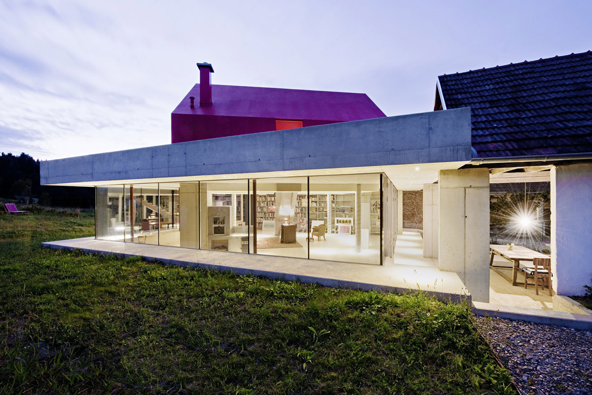 Evening Lighting, Old Farm House Renovation and Expansion in Burgenland, Austria