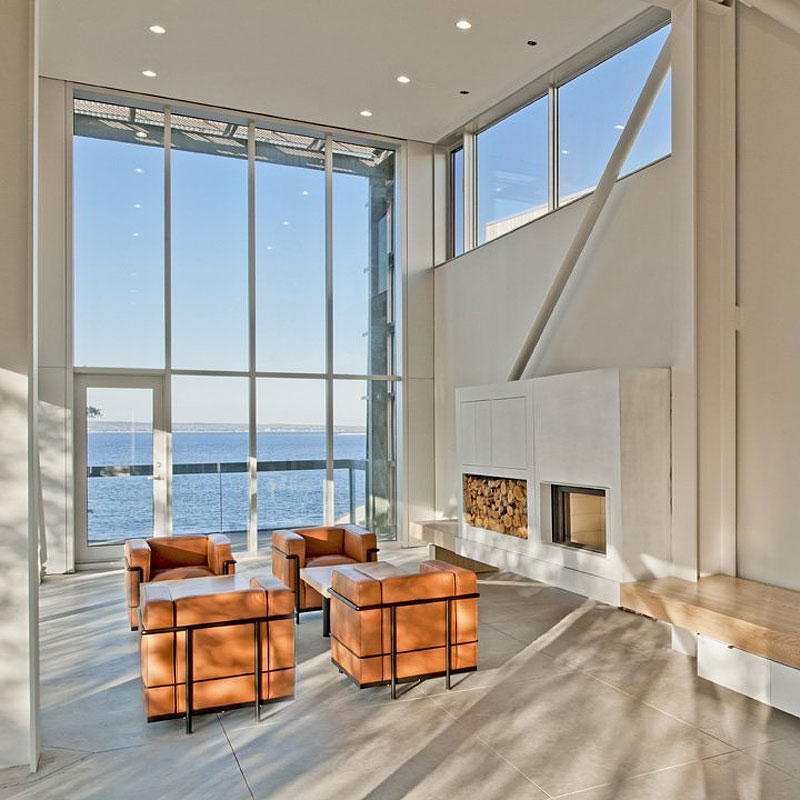 Contemporary Fireplace, Living Space, Sea Views, Home in Port Mouton, Nova Scotia