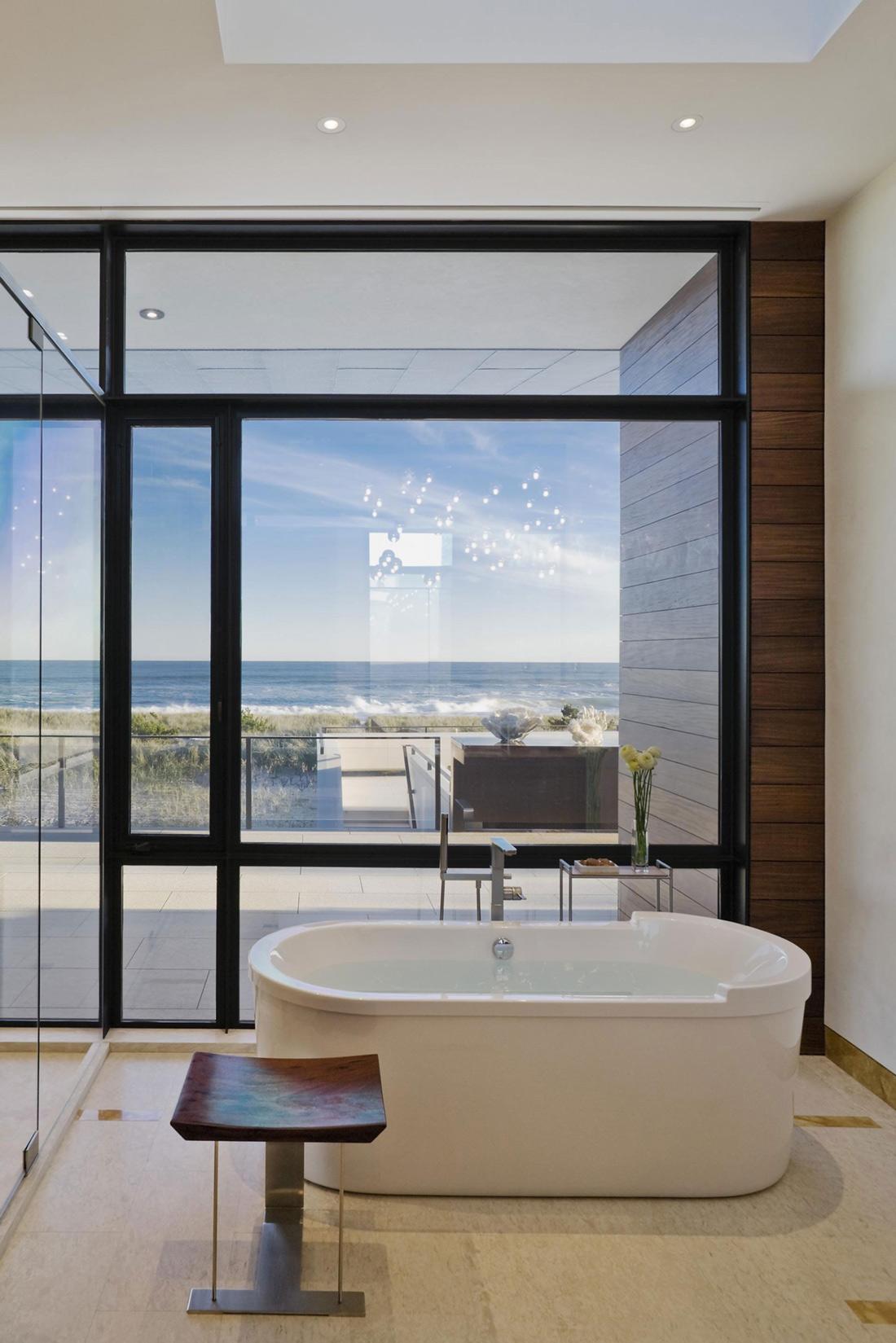 Bathroom Tub Floor To Ceiling Windows Summer Retreat In