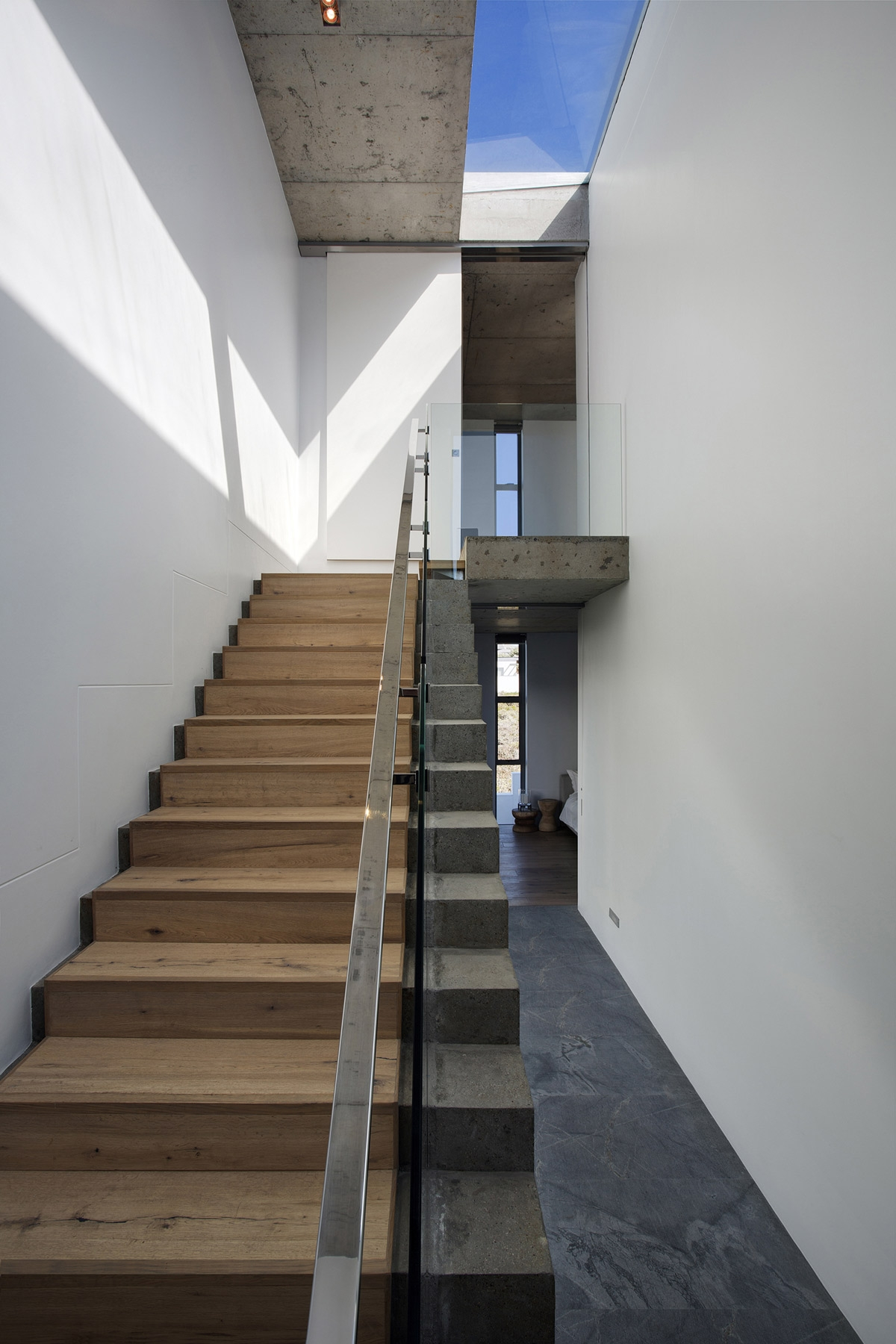 Glass Wood Concrete Stairs Holiday Home In Yzerfontein South   Wood And Concrete Stairs   House   Internal   Glass   Small Space   Pinterest