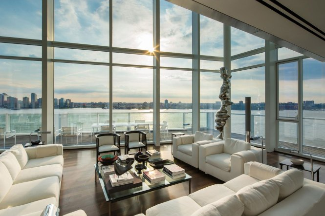 Sofas Glass Coffee Table Floor To Ceiling Windows Apartment In Manhattan