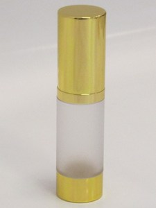 Frosted & Gold Chrome 15ml With Cap - Airless Serum Bottles