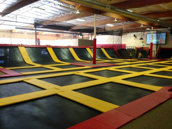 One of several trampoline courts at Aerosports