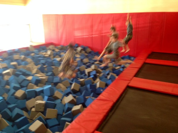 My son and friends enjoying the foam pit at Aerosports