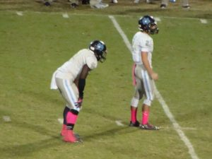 Austin Autry and Bolu Olorunfunmi lined up in shotgun formation