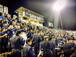 The Clovis East and Reyburn Marching Band and Guard at their first home football game of the 2014 season!
