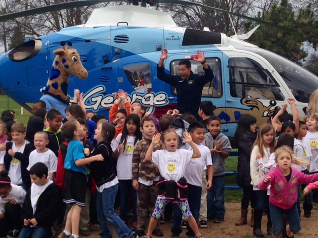 helicopter visits The Kind Kids Club