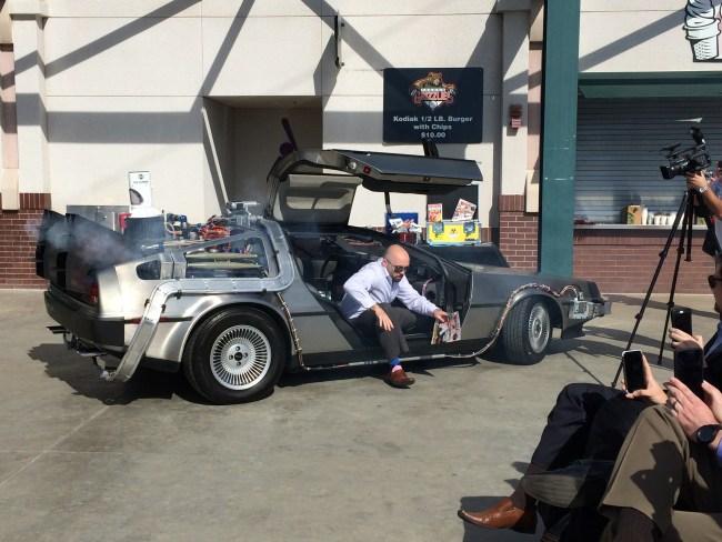 Derek Franks comes back from the future in a DeLorean