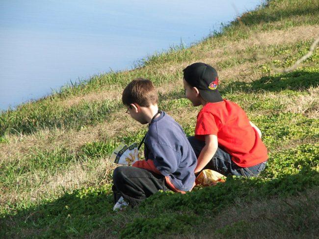 boys on the grass