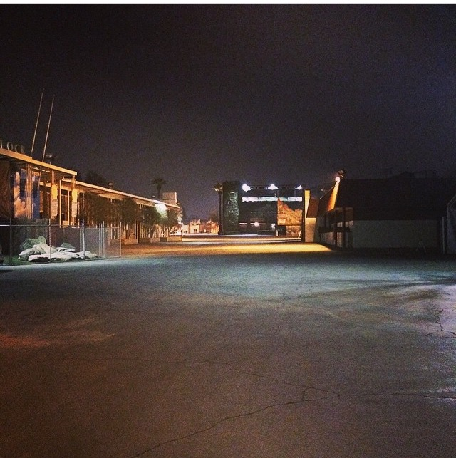 Fresno Fairgrounds, at night, with no people.