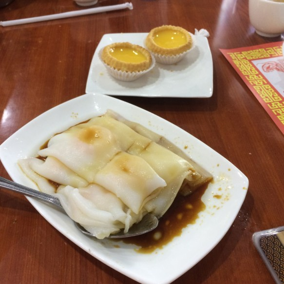 Egg custard tarts and shrimp rice noodle rolls.