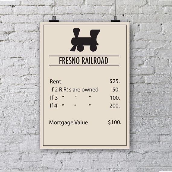 Fresno Monopoly Poster