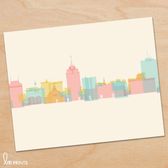 Fresno skyline print